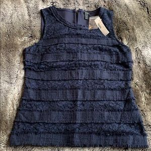 J Crew Size S Fringey Navy Top in Tweed and Lace